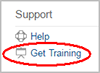 Get Training link under Support