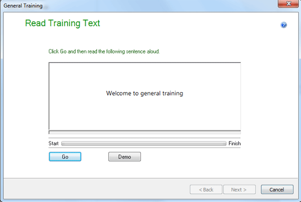 Read training text dialog
