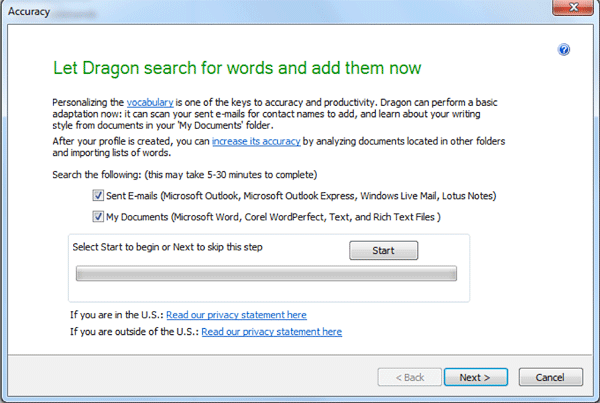 Let Dragon Search for Words dialog with options for analyzing emails and documents