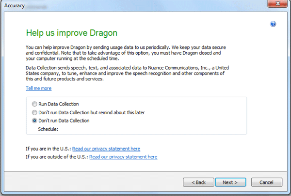 Help us improve Dragon dialog to set data collection preferences