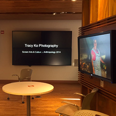 Shapiro Undergraduate Library lobby video wall