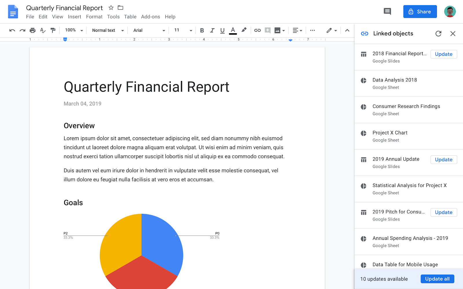 Screenshot of the new sidebar for updating all linked content in Google Docs