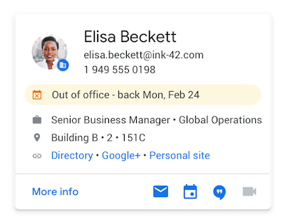 Screenshot of the new contact info showing out of office notices in Gmail