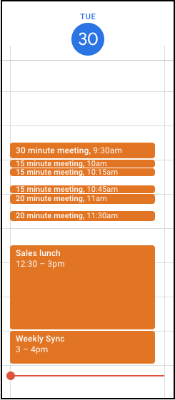Screenshot of a Google Calendar daily view, showing the new 15 minute slot size compared to 30 and 60 minutes