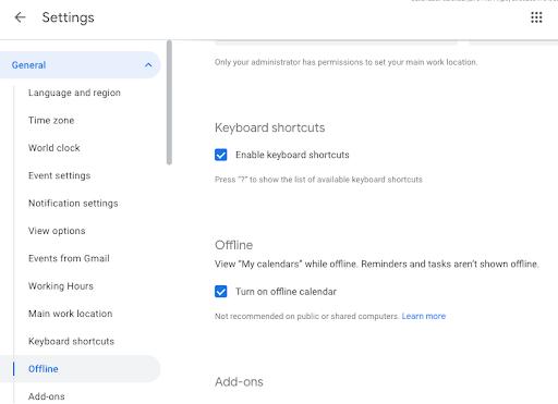 Screenshot of Google Calendar General settings, under Offline.