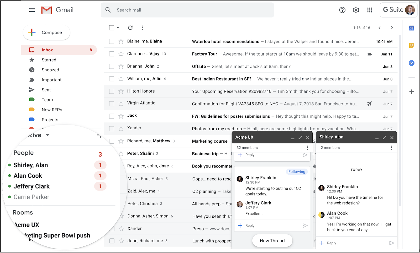 Screenshot of the new Google Chat in Gmail interface. Focus bubble over left sidebar where Chat is now located.