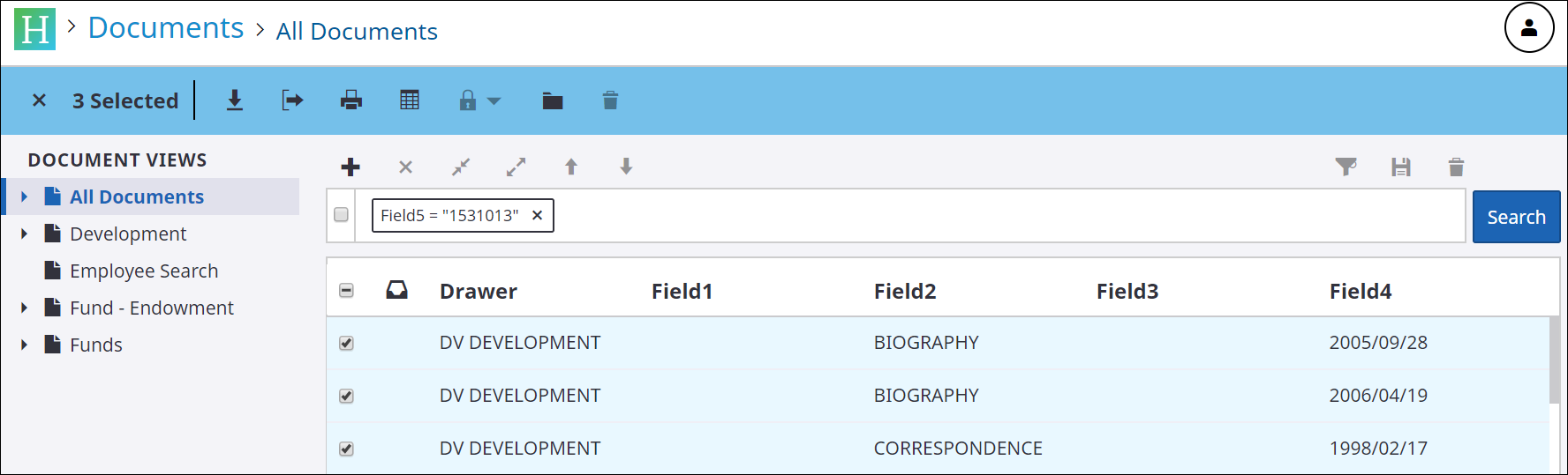 Select documents view screen shot