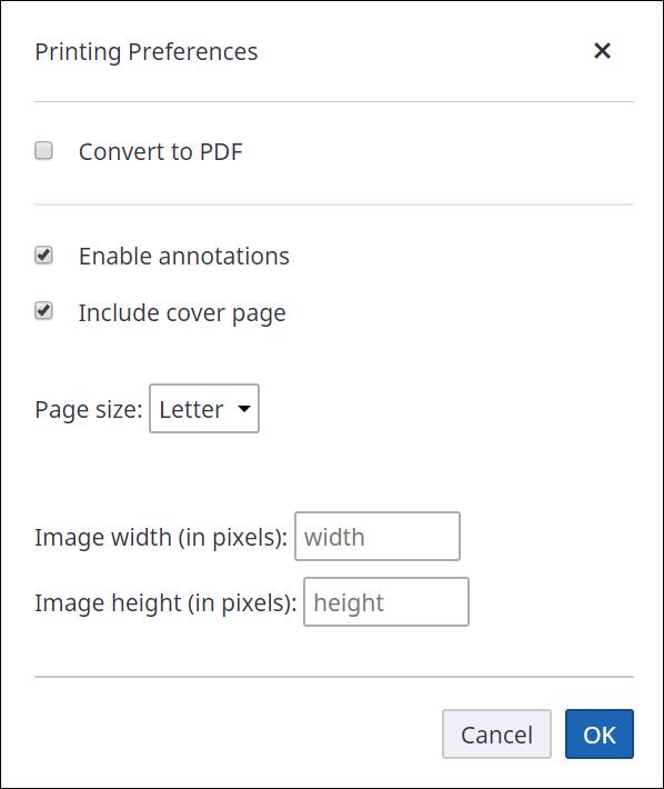 printing preferences box
