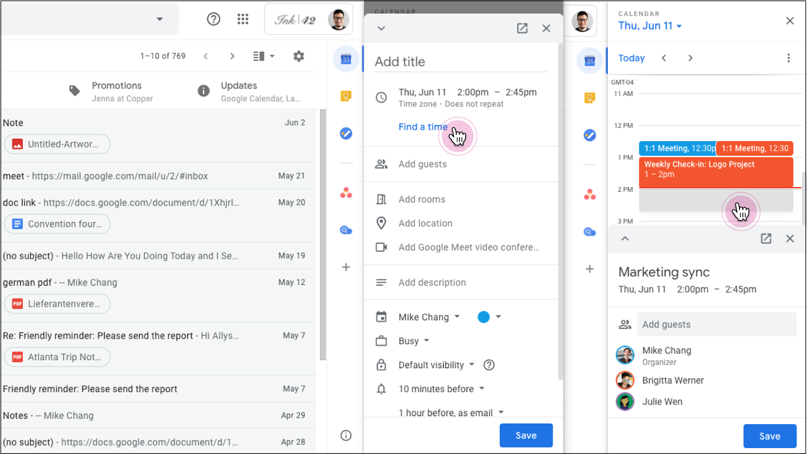 "Screenshot with cursors point at the new ""Find a Time"" button in both Gmail and Google Docs"