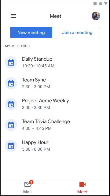 Screenshot of the new Meet tab in the Gmail mobile app.