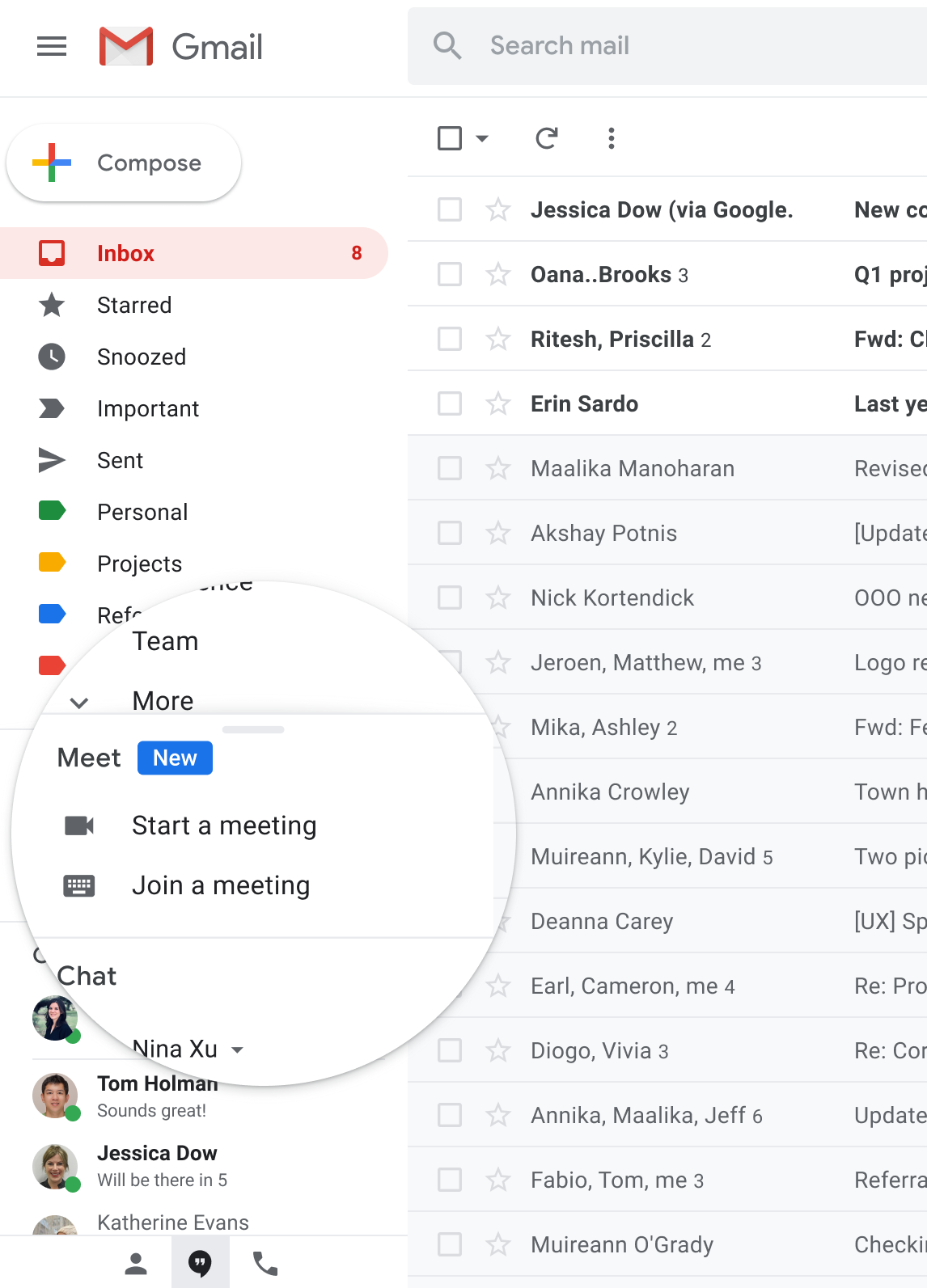 Screenshot of Gmail with an emphasis around the new Google Meet integration