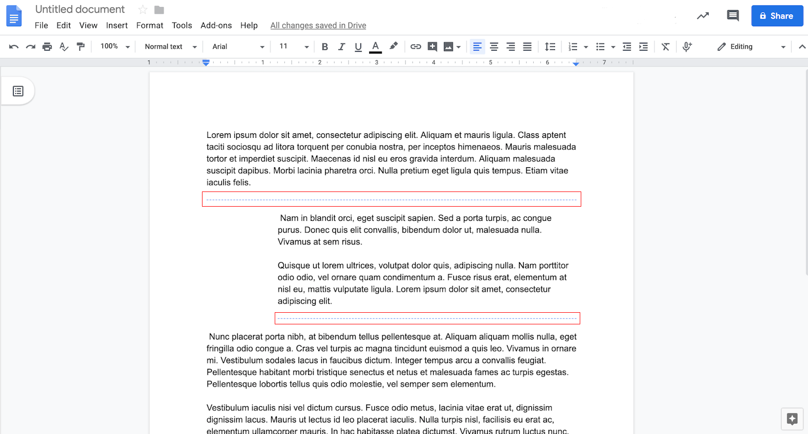 Screenshot of what the new section breaks look like in Google docs