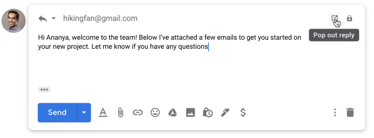 Screenshot of how to pop out a reply in Gmail.