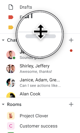 Screenshot of the left navigation bar of Gmail on the web. There is a circle around a zoomed in view of the resize icon above Chat.