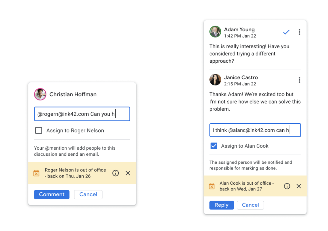 "On the left is a comment thread in Google Docs, showing a half-written tagged comment and the new OOO notice about ""Comment"". It is the same on the right side, except this comment thread has multiple in it."