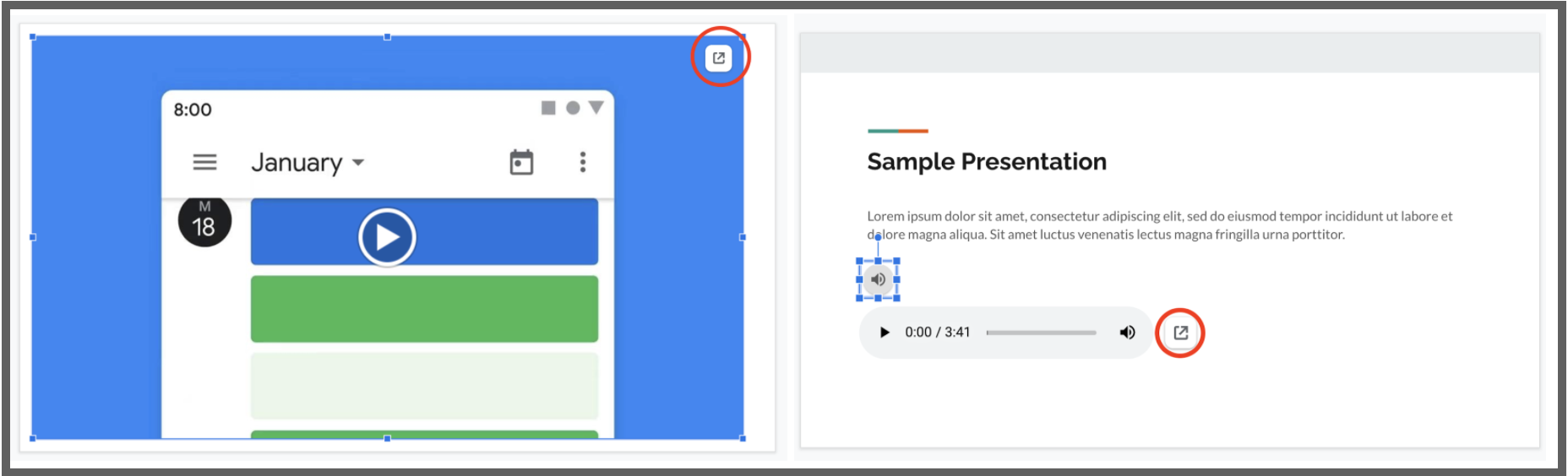 """Screenshot of two example slides in Google Slides. Red circle around the """"link to drive"""" icon on each slide."""
