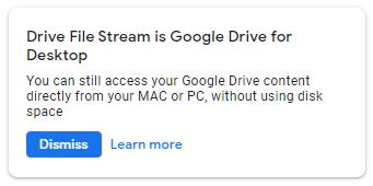 Screenshot of Google Drive File Stream name change notification.
