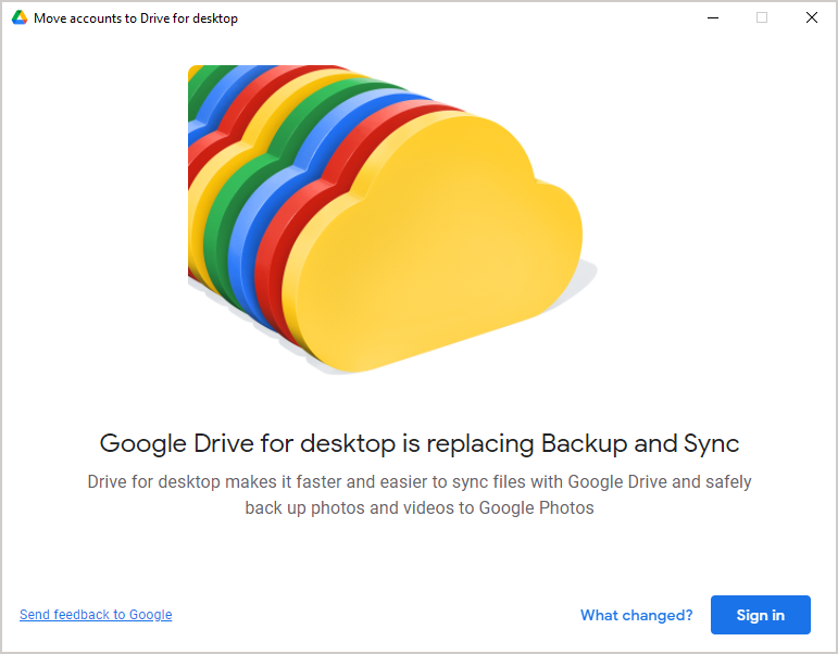 Google Backup and Sync transition to Drive for desktop wizard popup