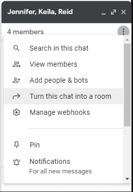 Small Google Chat box showing the ability to convert the group conversation to a room/space.