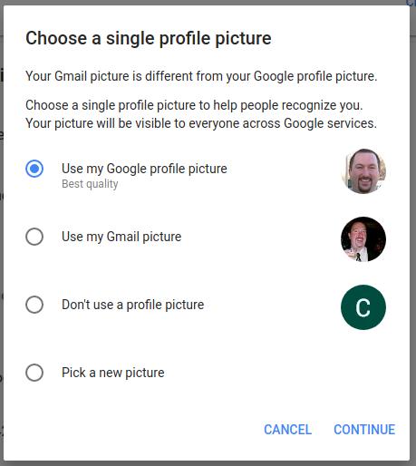Screenshot of new Google profile picture setting