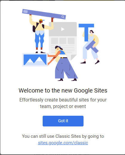 Screenshot of the notification you receive when you go to sites.google.com for the first time