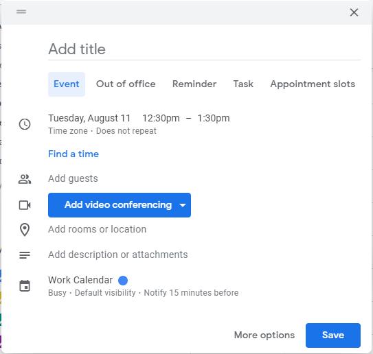 Screenshot of new dialog box when creating a Google Calendar event.