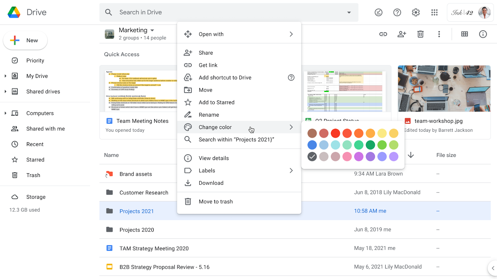 """Google Drive shared drive page, folder drop-down menu is visible, cursor hovers over """"Change color"""" option which shows available colors to choose from."""