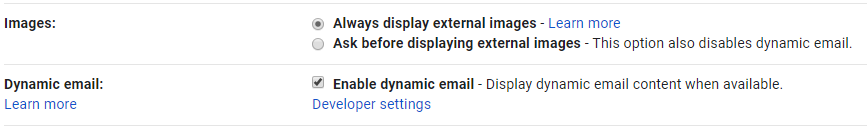 Screenshot showing the settings Images and Dynamic email in Gmail settings