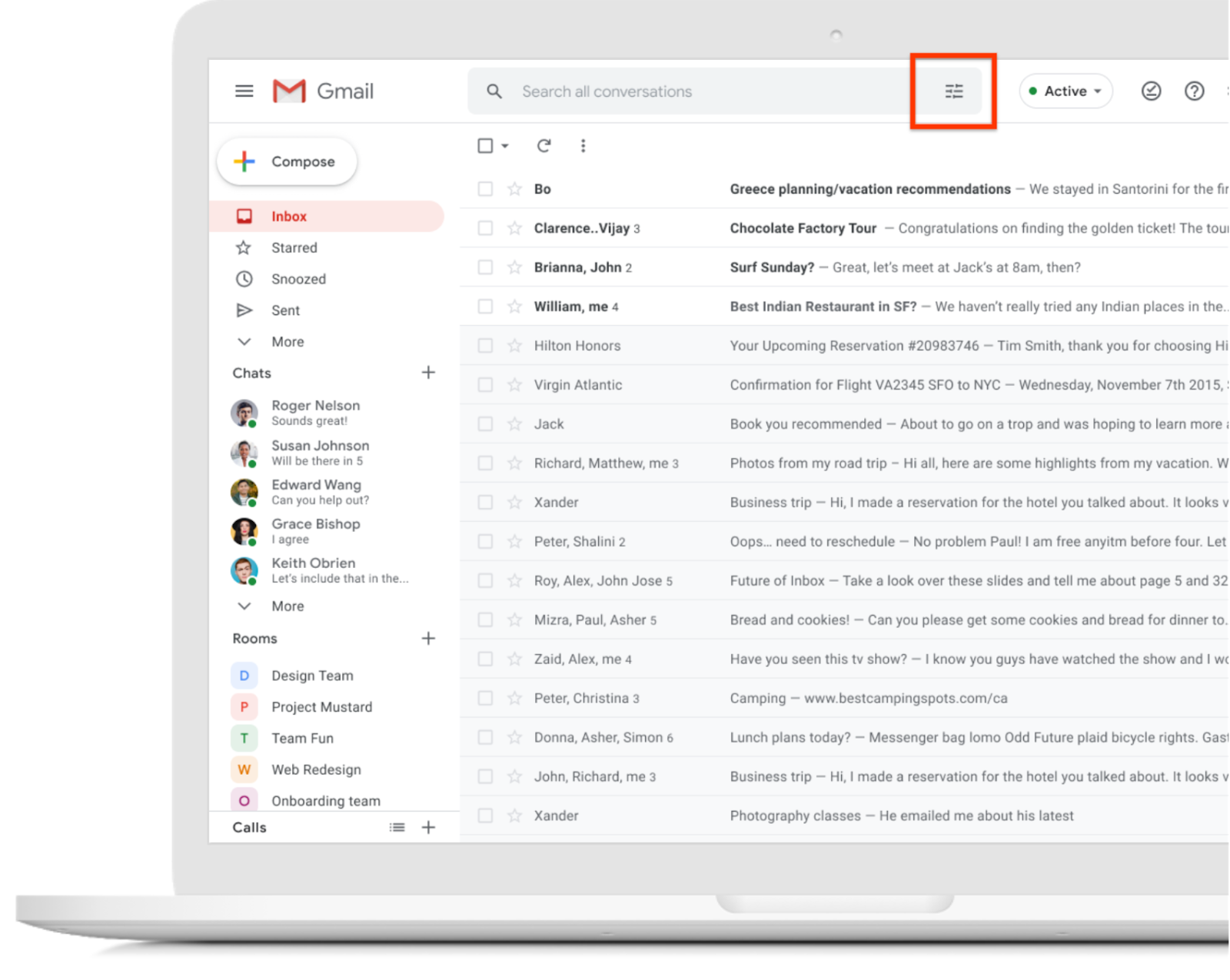 Gmail inbox webpage, red box around the new advanced search icon in the search bar at the top of the image.