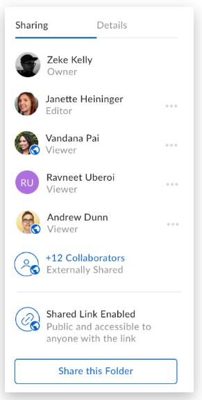Screenshot of new U-M Box sharing and collaboration experience