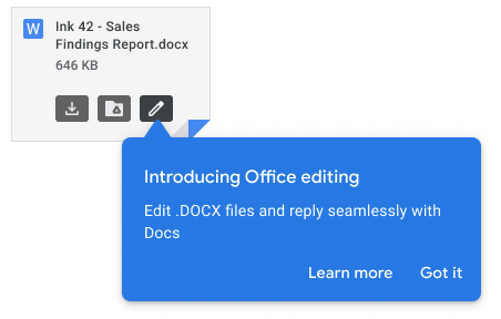 Screenshot of a Microsoft Word Doc attached to an email in Gmail with a blue pop-up notification introducing Office editing.