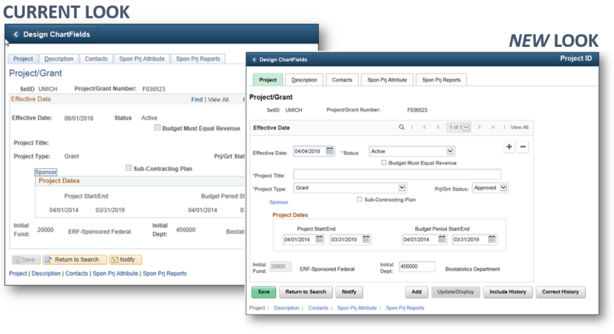 Screenshot of old versus new pages in M-Pathways Financials