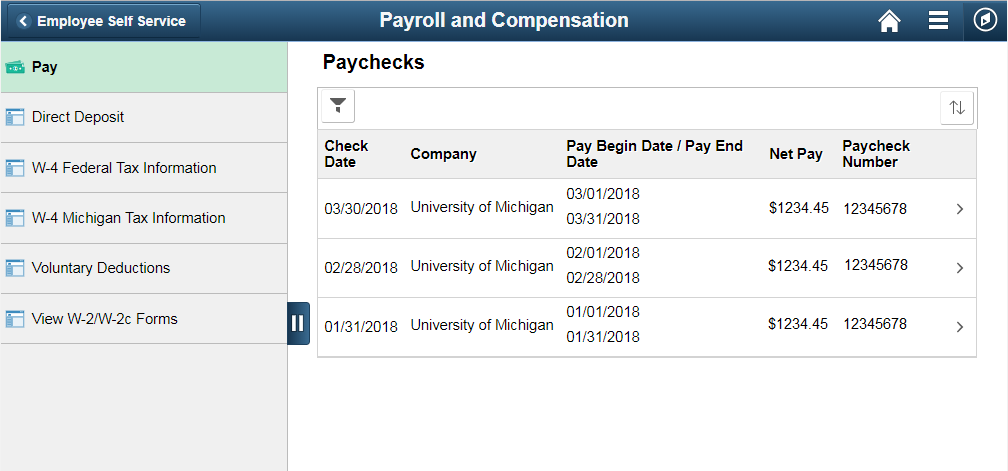 Payroll and Compensation PC view