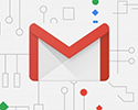 The Gmail icon against an illustrated circuitboard background