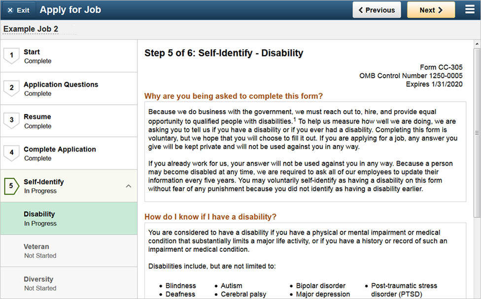 Fifth page of the activity guide showing the disability page of the self identify section