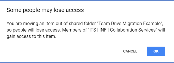 Some people may lose access. You are moving an item out of shared folder Team Migration Example, so people will lose access. Members of ITS | INF | Collaboration Services will gain access to this item.